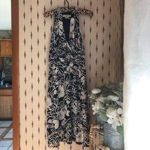 Evan Picone Black White Floral Sleeveless Dress